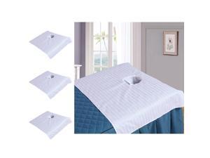 3pcs Cotton Massage Table Face Hole Towel Beauty Bed Cover Sheet White