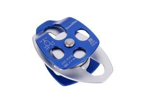 32KN Double Pulley for Hauling System Climbing Caving Rescue Dragging Blue