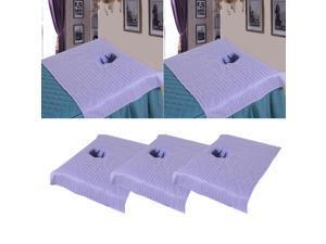 3pcs Cotton Massage Table Face Hole Towel Beauty Bed Cover Sheet Lilac