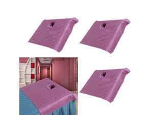 3pcs Cotton Massage Table Face Hole Towel Beauty Bed Cover Sheet Purple