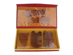 5pcs Natural Guasha Board Scraping Massage Gua Sha Scraper Tool Set Yellow