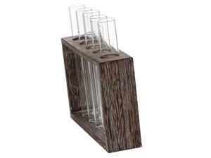 Test Tube Flower Vase ChairWooden Stand for Hydroponic Plant 5 Tube