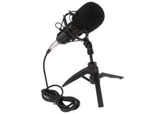 Table Studio Condenser Microphone with Tripod Stand Filter Shield Black