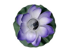 Solar Power LED Floating Lotus Light Night Flower Lantern Lamp Purple Petals
