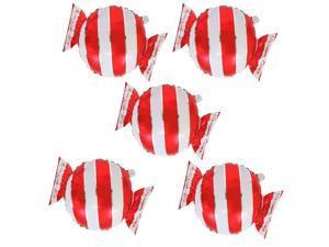 5 Pieces Sweet Stripes Candy Shape Aluminium Film Balloon Wedding Decor Red