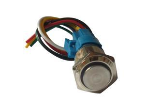 3-6V LED 16mm Momentary Push Button Switch IP65 with Wire Connector Yellow