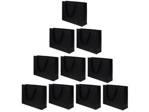 10 Pieces Party Kraft Paper Gift Bags Wedding Loot Bags 30x22x8cm Black