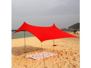 Outdoor Waterproof Tent Camp Rain Shelter Sun Shade Picnic Beach Tarp red