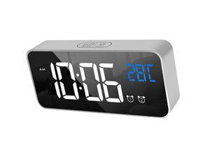 Sound Control Mirror LED Music Alarm Clock Desk Clock 3 Colors Silver