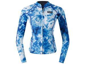 2mm Women Wetsuit Top Jacket UPF 50+ Long Sleeve Rash Guard Blue Camo M