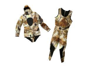 Men Wetsuit Two-piece Suit Super Stretch for Diving Swimming Camouflage XXL