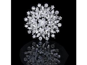 Sparkly Crystal Rhinestone Bridal Wedding Bouquet Silver Flower Brooch Pin