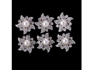 10pcs Rhinestone Pearl Windmill Shank Buttons for Sewing Craft Gold 30mm