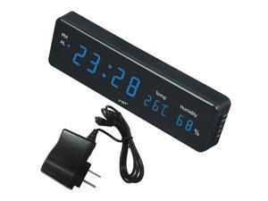 Multifunction Digital LED Alarm Clock Thermometer Humidity US Plug Blue