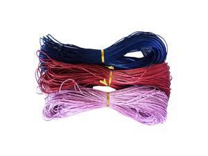 3 Pieces 80 Meters Cotton Waxed Cord 1mm Dark blue+Dark red+Purple