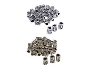 48x Viking Runes Beads Hair Beard Retro Bracelets Pendants Jewelry Making