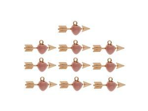 10 Pieces Arrow Through Heart Charm Pendants Necklace Jewelry Findings Pink