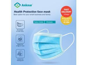 [100pcs]   10pcs X 10 Packs Individual packing Anknar Earloop Disposable Face Masks, Disposable Masks,3-Layer Masks for small business and employees.