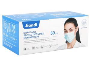 [50 Pcs] Jiandi Disposable Face Mask, 3-ply Breathable Comfortable Face Masks With Earloops for Daily Use, 50 pcs per Box