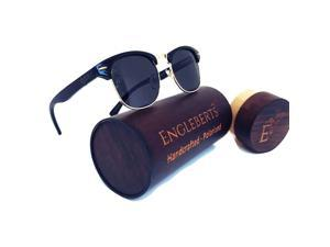 Midnight Black Bamboo Club Sunglasses, Polarized, HandCrafted, Wood Case