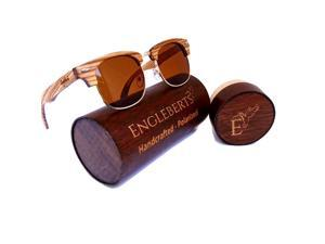 Engleberts 100% Real Ebony and Zebrawood Sunglasses With Bamboo Case. Tea Colored Polarized Lens, HandCrafted, UV 400 Protection, Anti-Reflective Lens, Cat 3 Lens, Artisan Engraved, Eco-Friendly.