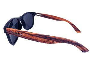 Premium Zebrawood Stars and Bars Sunglasses, Polarized, HandCrafted, UV 400 Protection, Anti-Reflective Cat 3 Lenses, Artisan Engraved, Eco-Friendly.