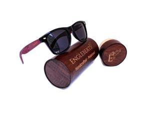 Rosewood Sunglasses With Wood Case, Polarized, Artisan Engraved, Handcrafted