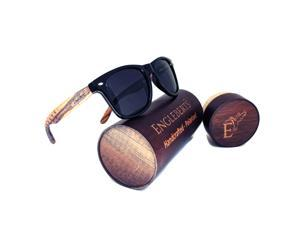 Zebrawood Sunglasses, Stars and Bars With Wooden Case, Polarized Lenses