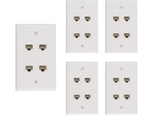 Buyer's Point 4 Port Cat6 Wall Plate, Female-Female White - 5 Pack