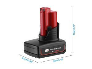 Updated 6.0Ah 12V Lithium Battery for Milwaukee M12 XC 6.0 48-11-2460 48-11-2450