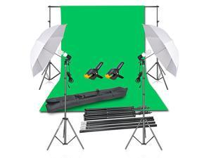 Photography Backdrop Continuous Umbrella Studio Lighting Kit Muslin Chromakey Green Screen and Background Stand Support System for Photo Video Shoot
