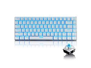 82 Key Mechanical Keyboard Wired USB Metal Mechanical Blue Switch Computer Gaming Keyboard with Blue LED Backlit for Computer Gamers Blue Switch White