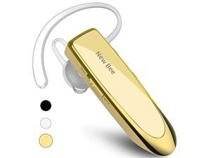 Bluetooth Earpiece V50 Wireless Handsfree Headset 24 Hrs Driving Headset 60 Days Standby Time with Noise Cancelling Mic Headsetcase for iPhone Android Samsung Laptop Truck Driver Gold