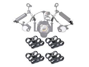 4 PCS x 1 Inch Aluminum Standard Long Ball Clamp Mount for Underwater Diving Light Arm SystemWork with Ram Mounts