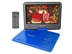 115 Portable DVD Player 5Hour Builtin Rechargeable Battery with 9 Swivel Screen Support CDDVDSD CardUSB with Remote control 18M Car Charger and Power Adaptor Blue