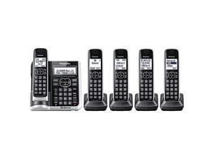Link2Cell Bluetooth Cordless Phone System with HD Audio Voice Assistant Smart Call Blocking and Answering Machine DECT 60 Expandable Cordless System 5 Handsets KXTGF675S Silver