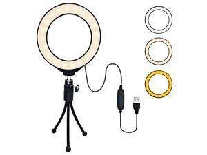 LED Ring Light 4 with Tripod Stand for YouTube Video Makeup and Live Streaming Mini LED Camera Light Desktop LED Lamp with 3 Light Modes 10 Brightness Level