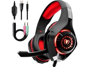 Gaming Headset with Noise Canceling mic, PS4 Xbox One Headset with Crystal 3D Gaming Sound, Memory Foam Earpad for PC, Mac, Laptop, Mobile