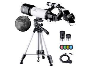 Telescope for Kids Adults Astronomy Beginners 70mm Aperture Refractor Telescope for Astronomy Portable Telescope with Tripod Smartphone Adapter Two Eyepieces Backpack