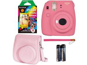 Instax Mini 9 Instant Camera Flamingo Pink Instant Mini Rainbow Film and Instax Groovy Camera Case Pink