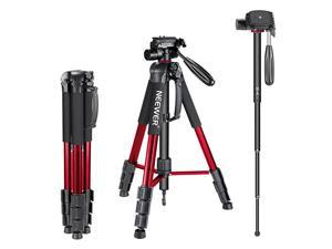 Portable 70 inches177 centimeters Aluminum Alloy Camera Tripod Monopod with 3Way Swivel Pan HeadBag for DSLR CameraDV Video CamcorderLoad up to 88 pounds4 kilograms RedSAB264