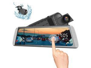 Mirror Dash Cam 10 Inches 1080P Touch Screen Rear View Camera for Car Video Streaming with Enhanced Night Vision Parking Assistance