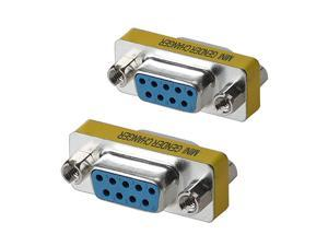 DB9 Female to Female Mini Gender Changer Coupler Adapter Connector Pack of 2