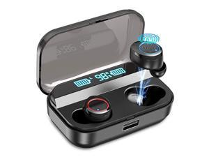 Wireless Earbuds, Bluetooth 5.0 Earbuds with 3000mAh Charging Case LED Battery Display 90H Playtime in-Ear Bluetooth Headset IPX7 Waterproof True Wireless Earbuds for Work Sports, Black