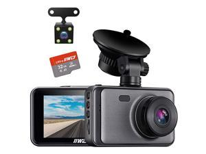 Dash Cam Front Rear and Inside 1080P Three Channels with IR Night Vision Car Camera SD Card Included Dashboard Camera Dashcam for Cars HDR Motion Detection and G-Sensor for Car, Taxi, Uber