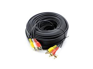 3 RCA Cable Audio Video Composite Male to Male DVD Cable 60 Feet