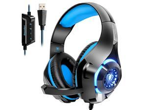 USB Gaming Headset for PC 71 Surround Sound Computer Gaming Headphones PC Headset with Noise Canceling Mic Volume Control LED Light for PC Mac Laptop