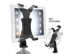 360Degrees Rotatable Heavy Duty iPad Tripod Mount, Universal Clamping Tablet Holder Break-Resistant Anti-Wobble, iPad Tripod Holder Adapter Fits iPad Pro 9.7 10.5 11 12.9 iPad 12345678 Mini Air