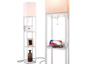 Maxwell Charger Shelf Floor Lamp with USB Charging Ports Electric Outlet Tall Narrow Tower Nightstand for Bedroom Modern Asian End Table with Light Attached White