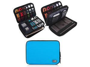 Double Layer Electronic Accessories Organizer Travel Gadget Bag for Cables USB Flash Drive Plug and More Perfect Size Fits for iPad Mini Medium Blue